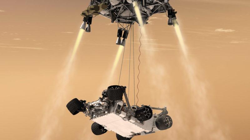 Curiosity Rover landing on mars using sky crane maneuver