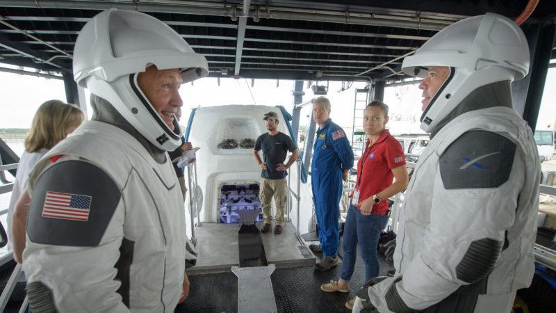 NASA astronauts Doug Hurley and Bob Behnken rehearse crew extraction from SpaceX's Crew Dragon